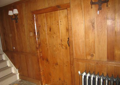 wood door matching panelling